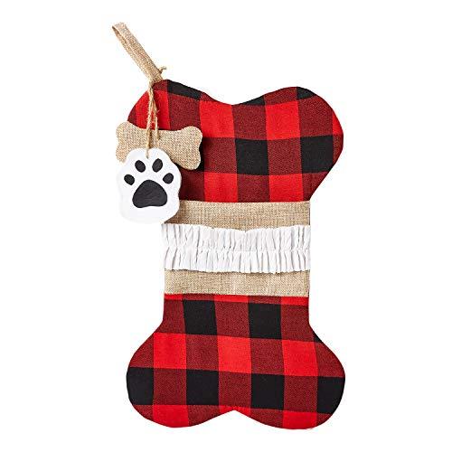 Ultra 1 Forma Osso Plaid Calza per Cane Natale Calze di Babbo Natale Calza per Animali da Calze Befana Decorazioni Natalizie Calzini per Cani Calza Befana Vuota Calza Natale da Appendere Calze Cane