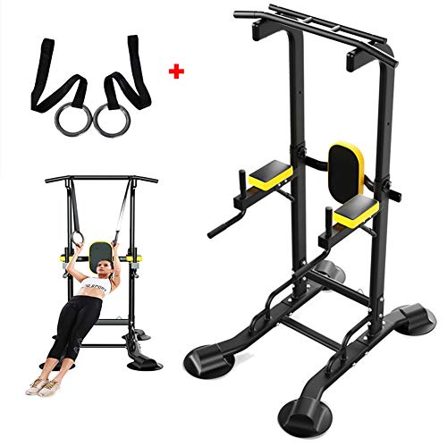 NYANGLI Power Tower Dip-Stationen, Innen Klimmzüge Adjustable, Pull Up Ring Mit Gurt Krafttraining Indoor Sport Multifunktionales Dip Ständer,Gelb