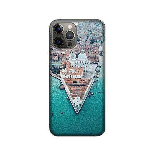 Funda iPhone 12 Pro Max Carcasa compatible con Apple iPhone 12 Pro Max Ciudades italianas Venecia / Vidrio de espalda con goma en los lados. / TPU antideslizante antideslizante antideslizante anti-ray