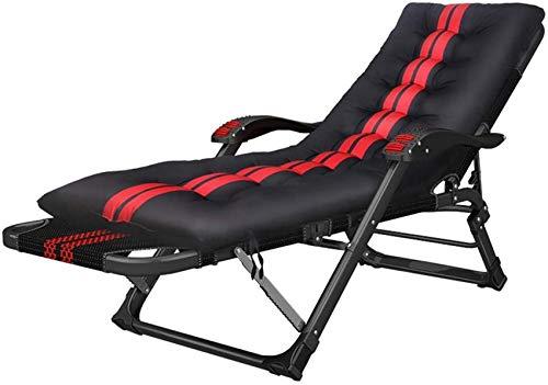 MFLASMF Productos para el hogar Plegable al Aire Libre Patio Lounge Sillones reclinables Tumbona de jardín Silla reclinable con cojín para Viajes, Camping, Playa, terraza - Negro