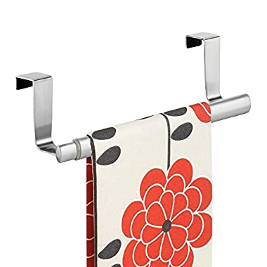 mDesign Adjustable, Expandable Kitchen Over Cabinet Towel Bar - Hang on Inside or Outside of Doors, Storage for Hand, Dish, and Tea Towels - 9.25  to 17  Wide, Brushed Stainless Steel
