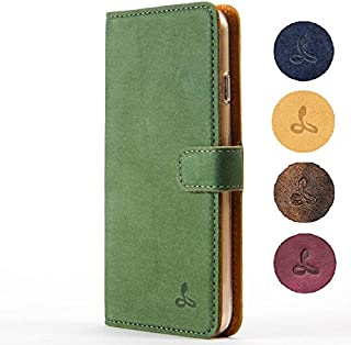 Snakehive iPhone 6/6S Case, Vintage Collection Apple iPhone 6/6S Wallet Case in Nubuck Leather with Credit Card/Note Slot for Apple iPhone 6/6S (Dark Green)