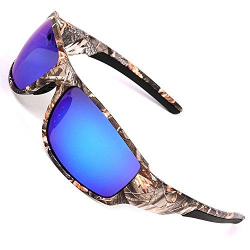 MOTELAN Polarized Camouflage Sunglasses for Men's Fishing Hunting Boating Sun Glasses Blue