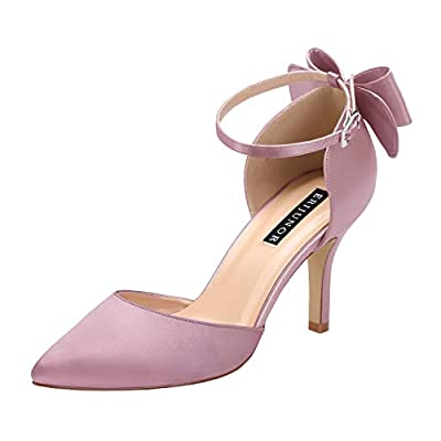 ERIJUNOR E1876B Wedding Evening Party Shoes Comfortable Mid Heels Pumps with Bow Knot Ankle Strap Wide Width Satin Shoes Laven Size 7 Lavender