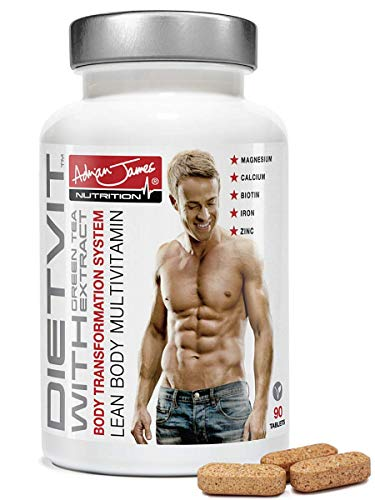 Adrian James Nutrition - Diet Multivitamin Tablets for Men & Women, 28 Vitamins & Minerals with Green Tea Extract, Premium Grade UK Made, Quality Assured, Natural Ingredients, 90 Tablets