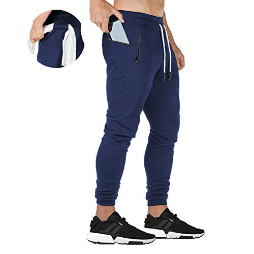 ZOXOZ Pantaloni Tuta Uomo Pantaloni Sportivi Uomo Cotone Leggero Pantaloni Fitness Gym Palestra Uomo Pantalone Stretti Blu L