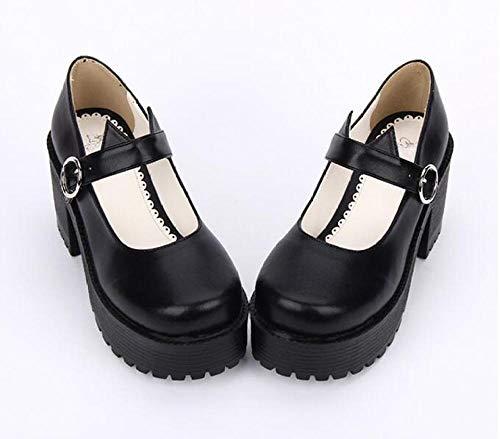 LIGEIAOGIAO Niñas Lolita Cosplay Zapatos Señoras Tacones Altos Bombas 8cm-Negro_8