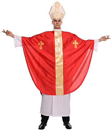 Adult Pope Halloween Costume Biblical Catholic Cardinal Bishop Outfit for Men Includes White Robe, Red Papal Poncho, Hat