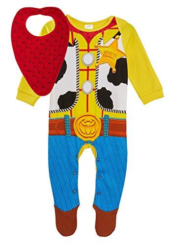 Disney Baby Boy Toy Story 4 Sheriff Woody Strampler + Bandana-Lätzchen, Geschenkset Gr. 9-12 Monate, multi