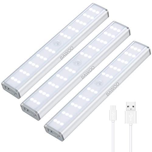 LED Unterbauleuchte Bawoo 3er LED Schrankbeleuchtung Schrankleuchte Magnetisch mit Bewegungsmelder USB Wiederaufladbare LED Schranklicht Kleiderschrank Nachtlicht