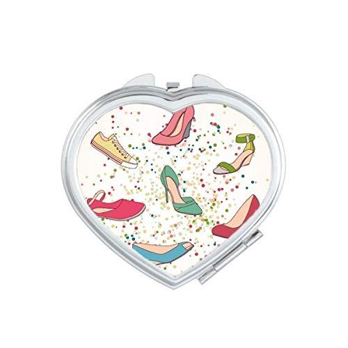DIYthinker Kleurrijke Cartoon Hoge hakken Schoenen Patroon Hart Compact Make-up Spiegel Draagbare Leuke Hand Pocket Spiegels Gift