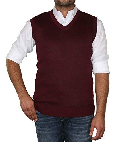 True Rock Men's Argyle V-Neck Sweater Vest-Burgundy-Small