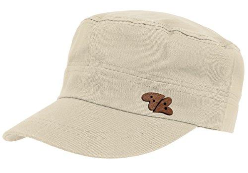 dy_mode Baseball Cap Damen Kappe Schirmmütze Mütze Kappe Military Style mit Herz Holzknopf - K008 (K008-Hellbeige)