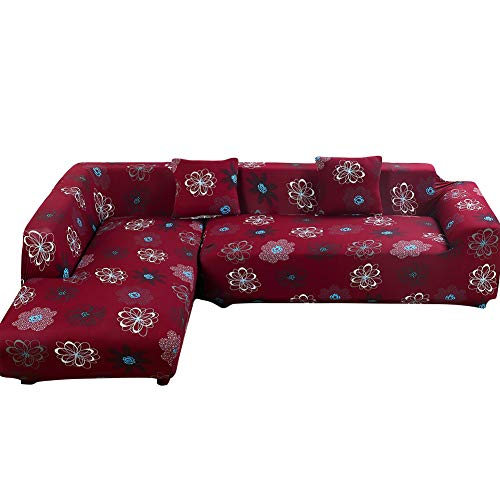 Jian Ya Na L Shape Stretch Sofa Covers Polyester Spandex Fabric Slipcover 2pcs Polyester Fabric Stretch Slipcovers + 2pcs Pillow Covers for Sectional Sofa Couch Red (Flower)