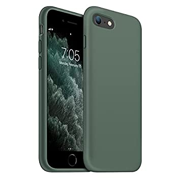 OUXUL iPhone SE 2020 Case,iPhone 7/8 Phone case,iPhone 7 case Liquid Silicone Gel Rubber Phone Case,iPhone SE 2020/8/7 4.7  Full Body Slim Soft Microfiber Lining Protective Case  Forest Green