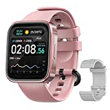 Smart Watches for Men Women IP68 Waterproof Fitness Tracker with Heart Rate Monitoring & Blood Oxygen Saturation 1.69 inch Full Touch Screen Smart Watch for iOS Android(Pink)