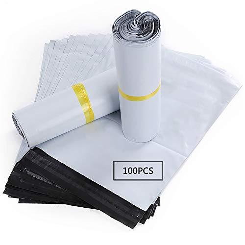 HVDHYY Bolsas para Envíos por Correo Sobres 100Piezas 25cmX35cm de Postales Plástico de Genérico Envío por correo Bolsas Sacos Polietileno Autoadhesivas Embalaje Sobres para Postales Blanco Opaca