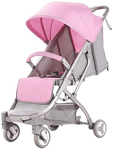 Cochecito de bebé liviano portátil del cochecito de bebé pliegue un cochecito de bebé, cochecito liviano con cochecito de bebé de viaje de 5 puntos para recién nacido y niño pequeño (Color : Pink)