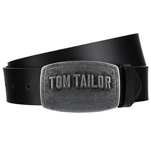 TOM TAILOR Herren Gürtel & Riemen Ledergürtel mit dominanter Logo-Schnalle black,110