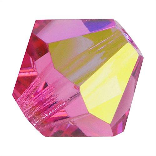 Bicones cristalli Preciosa Czech Glass Beads AB'4 mm confezione da 50 pz, colore: rosa