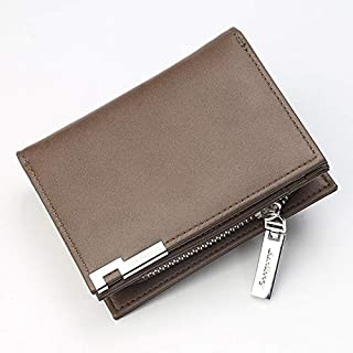 Wallet Men's Leather Multi-Function Zipper Coin Purse Tri-Fold Wallet Card Holder Buckle Wallet Zipper Wallet. XFGBTJKYA (Color : Brown, Size : S)