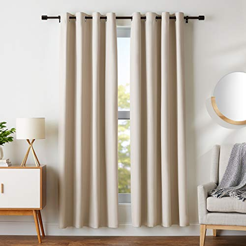 "Amazon Basics Room Darkening Blackout Window Curtains with Grommets - 42"" x 84"", Beige, 2 Panels"