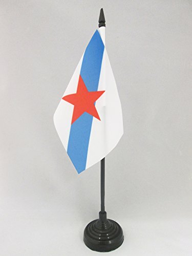 AZ FLAG Bandera de Mesa de Galicia ESTRELEIRA 15x10cm - BANDERINA de DESPACHO INDEPENDENTISTA GALLEGA - NACIONALISMO Gallego 10 x 15 cm