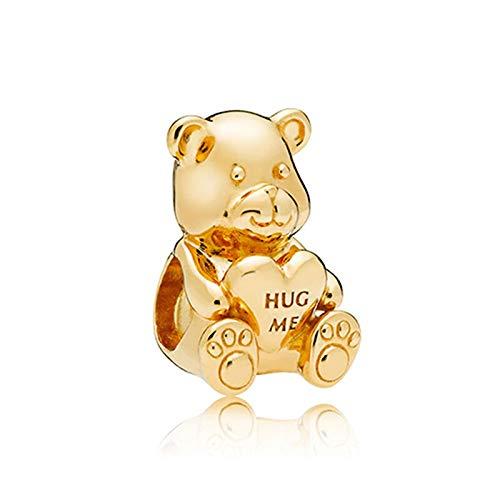 Auténtica Pandora 925 Cuentas De Plata Esterlina Diy Pearl Shine Theodore Bear Charm Fit Moda Mujer Pulsera Brazalete Joyería De Regalo