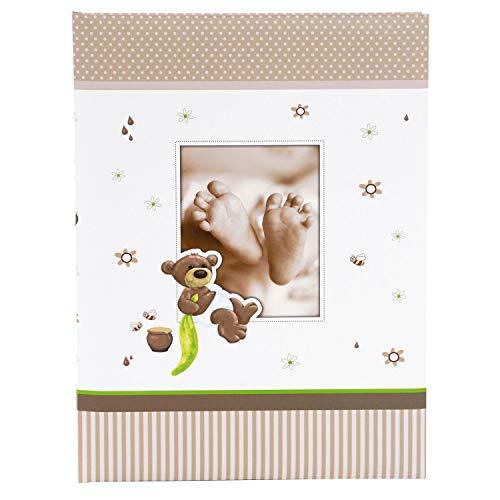 goldbuch 11238 Babytagebuch Honigbär, 21 x 28 cm, Tagebuch für Neugeborene, Baby Erinnerungsalbum mit 44 illustrierte Seiten, Einband mit Kunstdruck, Album in Weiß / Braun