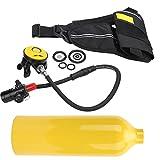 Equipo de esnórquel, resistente al polvo, transpirable y duradero, kit de tanque de resistencia al agua y resistencia a la corrosión para buceo(Botella de oxigeno amarilla)