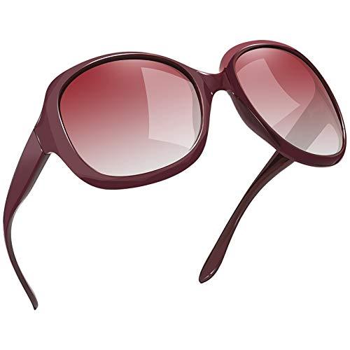 occhiali da sole rosa donna Joopin Vintage Donna Occhiali da Sole Grande Polarizzati Signora Moda Occhiali Oversize UV400 Protezione (Montatura Rossi Lenti Rosa)