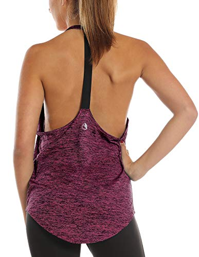 icyzone Damen Zumba Shirt Sport Top Lang - Rückenfrei Workout Gym Tanktop Yoga Oberteile (S, Red Bud)