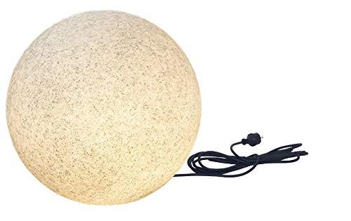 Trango 1er Set 500G IP65 Gartenkugel 50cm Durchmesser in Granitstein-Optik *NATURE* inkl. ca. 5 Meter IP44 Zuleitungskabel mit 1x E27 Fassung, Kugelleuchte, Gartenleuchte, Leuchtkugel, Außenleuchte