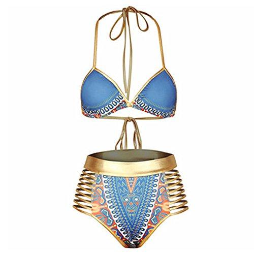 DELEY Damen Bronzing Verband Mit Hoher Taille Vintage Print Afrika Bikini Brasilianische Badeanzug Beachwear Bademode Swimwear Blau Größe S