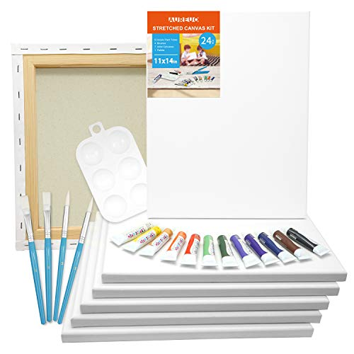 AUREUO 24-Piece Canvas Painting Kit Include 7 Pack 11x14 Inch Stretched Canvas, 12x12ml Acrylic Paints, 4 Paint Brushes, 1 Palette Acrylic Paint Set with Canvas Multipack