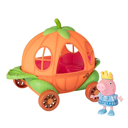 Jazwares Peppa Pig Little Vehicle Carriage Play Set - Includes A Pumpkin Carriage and Princess Peppa Toy Figure - Ages 3+