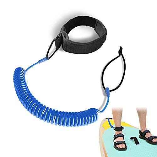 JEEZAO 10 Piedi Guinzaglio per Surf,Leash Sup,Lacci di Sicurezza Spirale Tavola TPU Regolabile per Tavola da Surf Kayak,Tavolo da Paddle in Piedi (Azul)