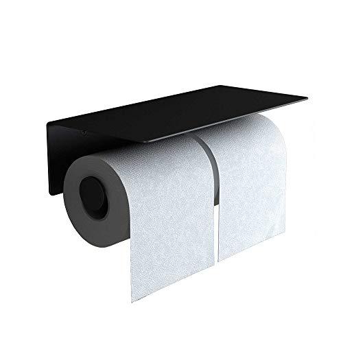 doporro WC-Papierhalter doppelt Schwarz matt aus Edelstahl Papierrollenhalter mit Ablage Wandmontage