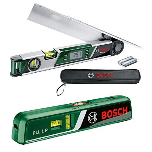 Bosch Winkelmesser PAM 220 (0° - 220° Messbereich, 0,2° Messgenauigkeit, in Tasche) + Laser-Wasserwaage PLL 1 P (Arbeitsbereich Linienlaser 5 m, Arbeitsbereich Punktlaser 20 m, im Karton)