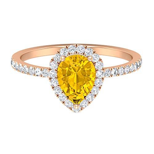 Anillo de zafiro amarillo de 1,45 CT creado en laboratorio, anillo de halo moissanita D-VSSI, anillo de compromiso de corte de pera de 6 x 8 mm, anillo de compromiso, 14K Oro rosa, Size:EU 49
