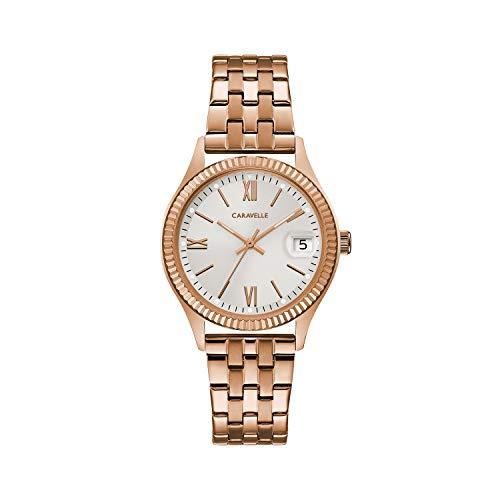 Caravelle Reloj 44M115 Acero Inoxidable Chapado Correa Color: Oro Rosado Dial Gris Analógico Mujer