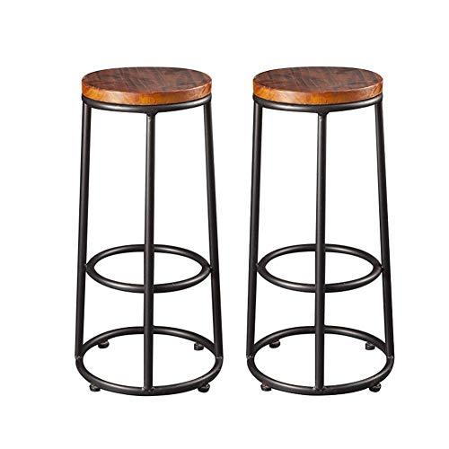 QQXX AGLZWY 2er-Set Barhocker Hochstuhl Metall mit rundem MDF-Sitz Küchenfrühstück Designerhocker Kücheninsel (Farbe: Braun, Größe: 35x42x76cm)
