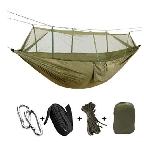 Hamac de Camping/Jardin avec moustiquaire Mobilier d'extérieur 1-2 Personne Portable Lit Suspendu Force Parachute Tissu Sleep Swing ArmyGreen