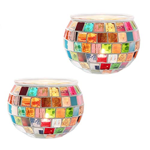 DerBlue 2Pcs Votive Candle Holders Mosaic Glass Jars Votive Tealight Candle Holders for Holidays, Weddings, Parties Home Decor Thanksgiving Gifts