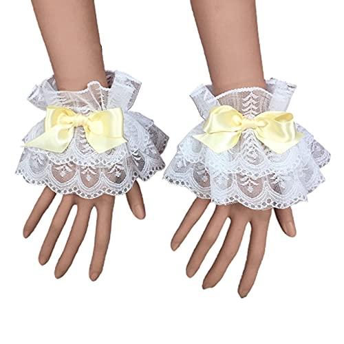yuese Lolita - Brazalete de encaje para mujer, manga de mano, con volantes, lazo, para cosplay (color: Y)