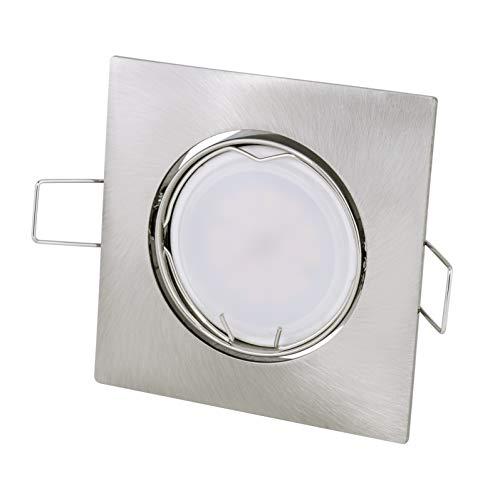Spot encastrable carré   brossé   35 ° orientable – 230 V GU10 5 W LED 350Lumen Blanc chaud 2700 K – Douille de lampe avec câble de raccordement inclus