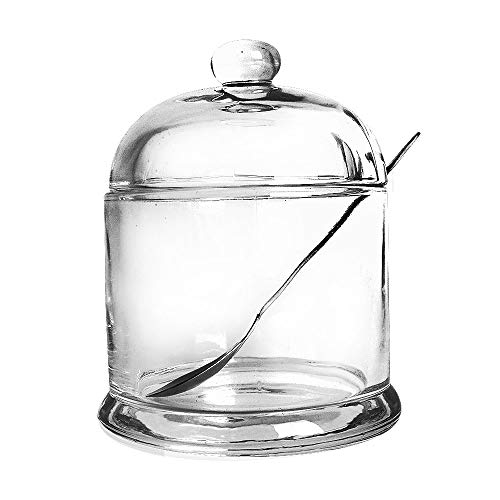 Vencer Thickened Glass Sugar Bowl With Lid and Stainless Steel Sugar Serving Spoon 105 Ounces 300 MLSugar Canister Sugar Dispenser VFO-026