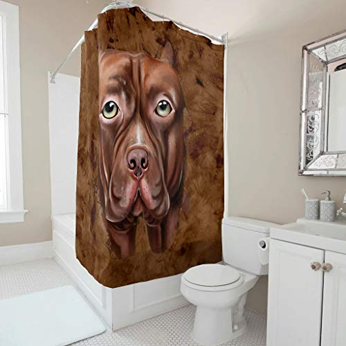 COMBON Shop Ink Bulldog - Cortina de ducha lavable para bañeras (91 x 180 cm), color blanco