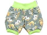 Kleine Könige Kurze Pumphose Baby Jungen Shorts · Modell Koala und Faultier grau, Lemon · Ökotex 100 Zertifiziert · Größe 74/80