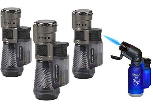 Vertigo by Lotus Cyclone Triple Torch Cigar Lighter Charcoal 3 Pack Plus Free Lighter